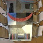 Tavolo in Vetro e Metallo decorato a mano